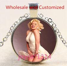 Marilyn Monroe Cabochon Tibetan silver Glass Chain Pendant Necklace #4696