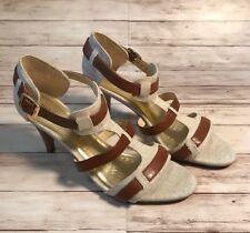 be1578bf0 Dana Buchman Laila Beige Canvas T Strap Adjustable Ankle High Heel Sandals  Sz 8M