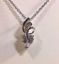 Simulated Diamond Sterling Silver Pendant with Stainless steel (20 in) Chain