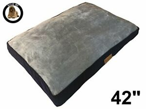 Extra Large 100cms x 66cms Dog Bed Blue Corduroy Sides and Grey Faux