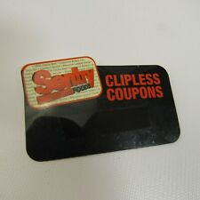 Vintage Sentry Foods Name Tag Employee Badge Clipless Coupons Black Cashier