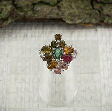 Turmalin Ring Sterlingsilber/925 facettiert Multicolor Grösse 54 (17,2 mm Ø)