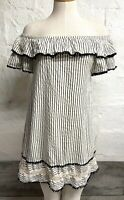 Zara Tunic Dress XS Striped Off Shoulder Pom Pom Crochet Ruffle Black White