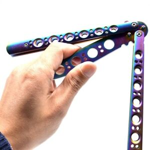 Butterfly Rainbow Knife Balisong Steel Toy Trainer Practice Sports Training Toy