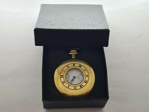 Vintage 1975  Swiss Half Hunter Gold Plated Pocket Watch  Gift Box   Perfect