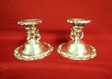 Baroque by Wallace Pair of Silverplate Low Candle Stick Holders