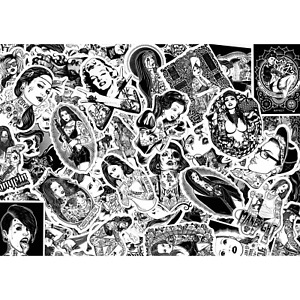 """Stickerbomb Scrapbooking-Sticker Deko-Aufkleber """"Hot Tattoo Pin-up Girls"""""""