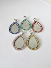 5pcs 25x18mm drop alloy pendant settings with rhinestones + glass UK