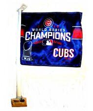 Chicago Cubs 2016 World Series Champs Car Auto Window Flag Pennant NIB Ex Ticket