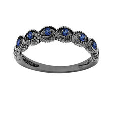 Blue Sapphire Wedding Band Wedding Ring 14K Black Gold Vintage Antique Style