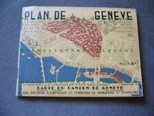 809KG1 Alter PLAN DE GENEVE, Stadtplan Genf 30er Jahre Schweiz 1930s vintage map