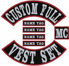 "13"" CUSTOM FULL VEST SET Embroidered MC BIKER Patches"