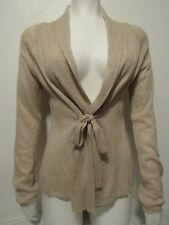 Knitted & Knotted M Wool Alpaca Long Sleeve Collar Tie Frontt Cardigan Oatmeal