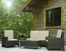 FDW Rattan Sofa Set - Brown