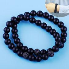 2pcs Men Black Matte Beaded Bracelet Handmade Agate Rhodium Plated 8mm Ball 20cm