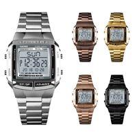 Nagelneu SKMEI Uhr Herren Sport Business Digital Edelstahl Dualzeit Armbanduhr