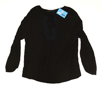 Zara Womens Size L Keyhole Black Top (Regular)