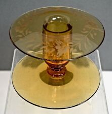 Depression Glass Candle Holder (Single) Etched on Rolled Rim, Amber, Two Discs