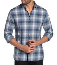 John Varvatos Star USA Men's Long Sleeve Fulton Plaid Woven Shirt Cosmos Blue