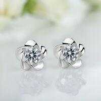 Damen Frauen Blumen Kristallrhinestone Bolzen Ohrringe best Geschenk silber J0B7