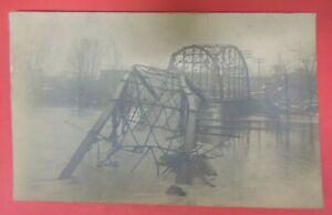 ANTIQUE VTG 1908 RPPC POSTCARD-BRIDGE COLLAPSE-MARION INDIANA