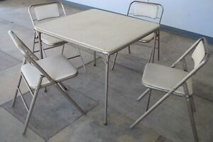 Tan & Puter Vintage 1950's Retro Samsonite Folding Card Table Set with 4 Chairs