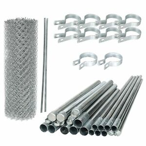 ALEKO Galvanized Steel 4 X 50 Feet Complete Kit Chain Link Fence Fabric Posts