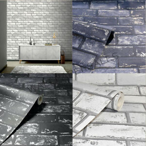 BRICK EFFECT WALLPAPER ARTHOUSE WHITE NAVY GREY BLACK METALLIC KITCHEN FEATURE