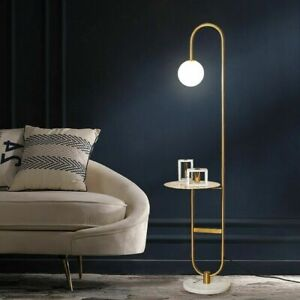 """60"""" Modern Arc Floor Lamp with Shelf Gold Bedside Lamp Glass Shade & Marble Base"""