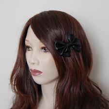 Shiny black wet look pvc fancy cute pin up rockabilly lolita emo mini hair bow