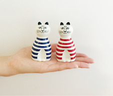 "NWT!! Cute! Lisa Larson ""MIMI"" Salt&Pepper shakers Pottery F/S w/tracking"