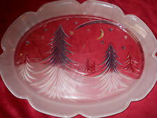 Oval Christmas Serving Platter Frosted Christmas Trees Scalloped Edges 15 x 11.5