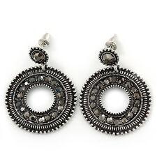 Antique Silver Marcasite Hematite Crystal Hoop Drop Earrings - 35mm Length