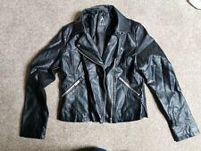 Ladies Black Leather Look Jacket Size 10 Atmosphere