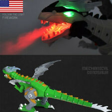 Green Electric Walking Dinosaur Dragon with Fire Breathing Water Spray Kids Toy