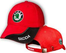 Skoda Red Black Baseball Cap Embroidered Auto Logo Adjustable Hat Mens Womens