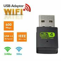 300 Mbps 2.4-5ghz USB Dual Band Wireless Adapter WiFi Dongle 802.11 AC Laptop UK