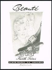 1940s Vintage 1945 Grana Kurth Freres Swiss Watch Mid Century Art Print Ad