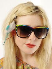 Vintage 70's 80's Glam Boho Rainbow Sunglasses Black