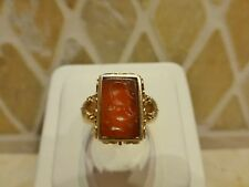 Antique Victorian 18k gold carved bull ox carnelian intaglio seal ring Taurus