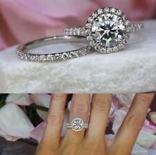 Engagement Ring 14k white Gold Over 2Ct Vvs1 Round Moissanite Luxury Wedding Set