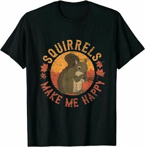 Squirrels Make Me Happy - Vintage Squirrel T-Shirt Black