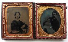 2 FERROTYPE 1/6 sous verre JEUNE COUPLE père et bébé PHOTOGRAPHIE ANCIENNE P244