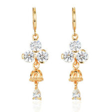 Fashion Women Gold Plated Cubic Zirconia Stones Bell CZ Drop Earrings Jewelry
