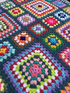 New Rainbow crochet baby blanket 42 x 42 inch. retro vintage granny square baby