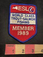 Vtg 1989 Member ESL WORLD CLASS TROUT SALMON Fishing / Fisherman Patch 92H3