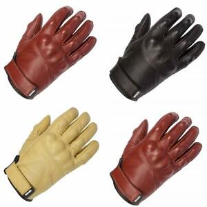 Spada Wyatt Leather Touring Motorcycle Gloves Summer Cruiser Motorbike Black