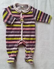 791c78e1d4f0f Pyjama velours rayé rose violet bébé fille 1 MOIS ORCHESTRA