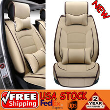 New 5-Seat Seat Covers PU Leather Front + Rear Cushion Cover and Pillows Set Kit