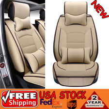 Car Seat Cover Beige PU Leather 5 Seats Cushion Front+Rear Set W/ Pillows Size L